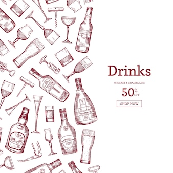 Hand drawn linear style alcohol drink bottles and glasses background illustration