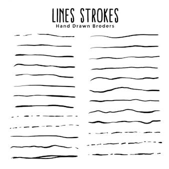 Set di pennelli di tratti disegnati a mano linee