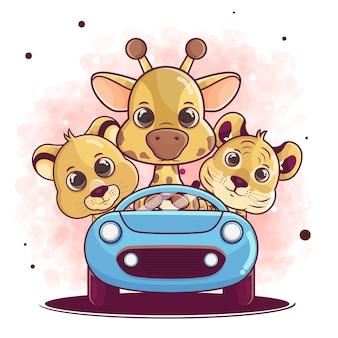 Ручной обращается лев, жираф, мультфильм тигра с использованием автомобильной иллюстрации