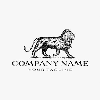 Hand drawn lion logo design illustration