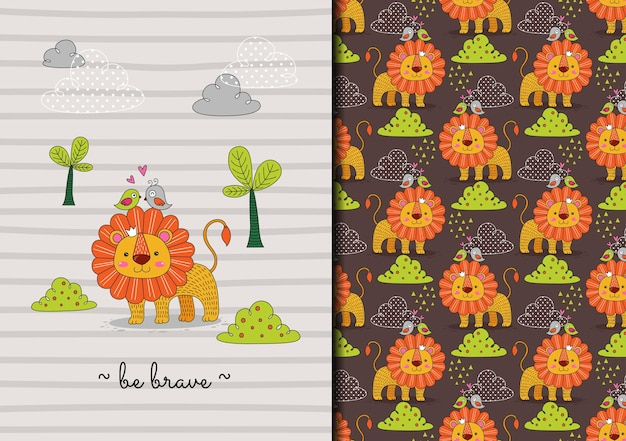 Hand drawn lion in the wild be brave seamless pattern