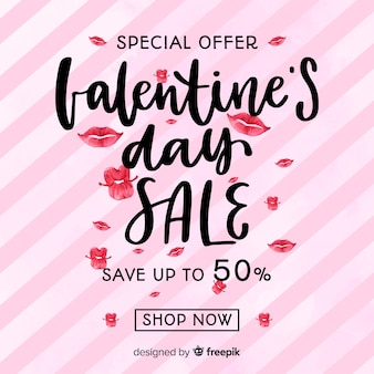 Hand drawn lips valentine sale background