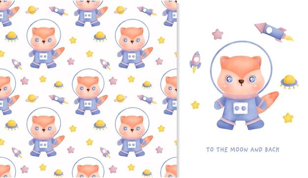 Ручной обращается маленький медведь в галактике бесшовные модели и открытки для скрапбукинга, упаковочная бумага, приглашения.