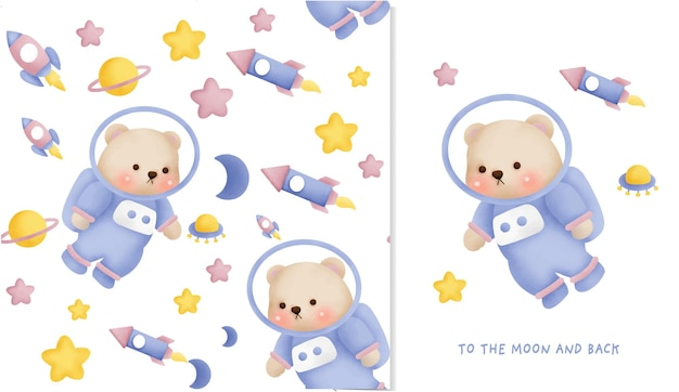 Ручной обращается маленький медведь в галактике бесшовные модели и поздравительных открыток.