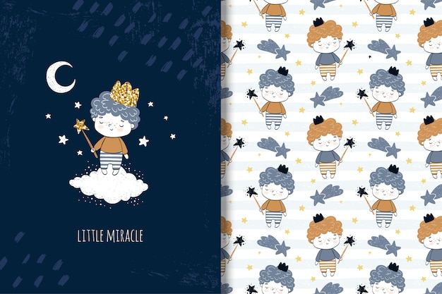 Hand drawn little boy card and seamless pattern for kids