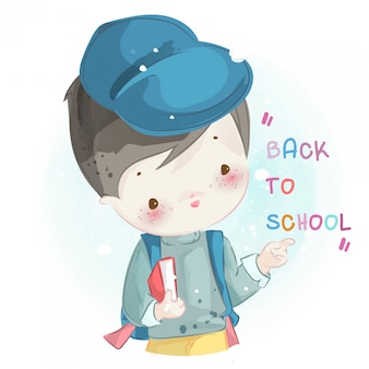 Hand drawn a little boy. vector illustration