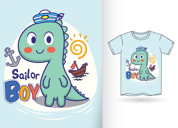 Hand drawn little dinosaur for t shirt