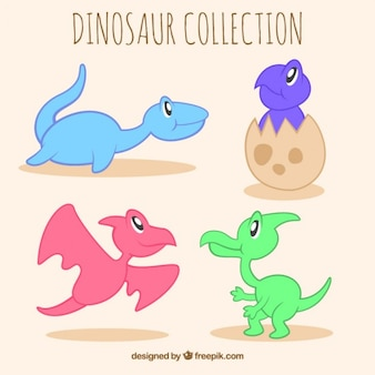 손으로 그린 작은 공룡 세트