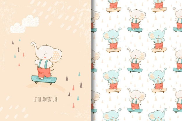Hand drawn little elephant card and seamless pattern for kids