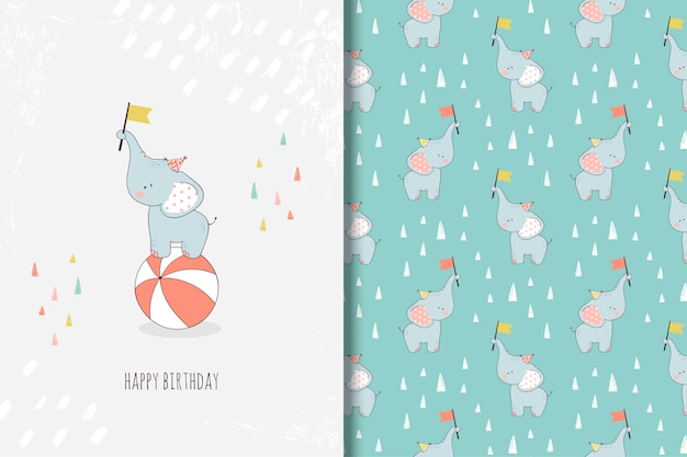 Hand drawn little elephant greeting card and seamless pattern