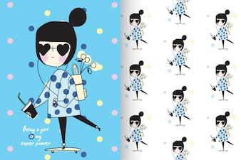Hand drawn little girl with pattern vector set