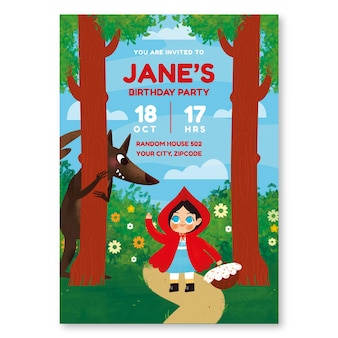 手描きの小さな赤い乗馬フードの誕生日の招待状のテンプレート