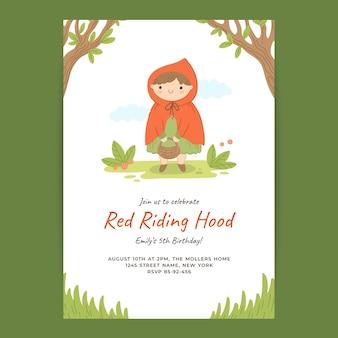 손으로 그린 작은 빨간 승마 후드 생일 초대장