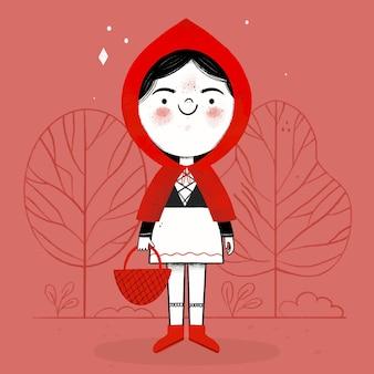 손으로 그린 작은 빨간 승마 후드 그림