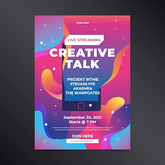 Hand drawn live streaming creative talk poster
