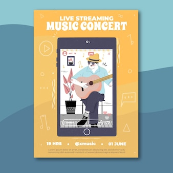 Hand drawn live streaming music concert poster with man playing guitar