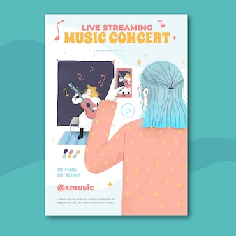 Hand drawn live streaming music concert poster