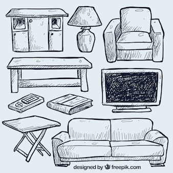 Hand drawn living room furniture