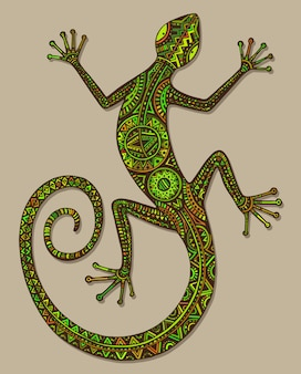 Hand drawn lizard or salamander with ethnic tribal patterns