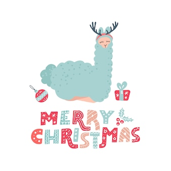 Hand drawn llama character with lettering text merry christmas