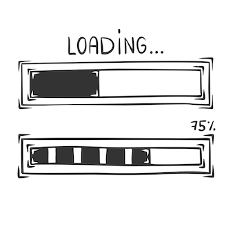 Hand drawn  of loading bar, isolated on white background.