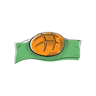 Hand drawn loaf of bread on a towel vector illustration