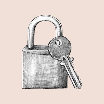 Hand-drawn lock and key illustration