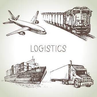Набор рисованной логистики и доставки эскиза иконок