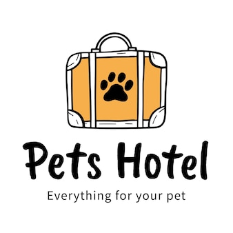 Hand drawn logo for pets hotel with bag and paw