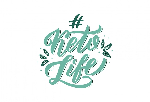 Hand drawn logo phrase for keto life . handwritten lettering composition isolated.