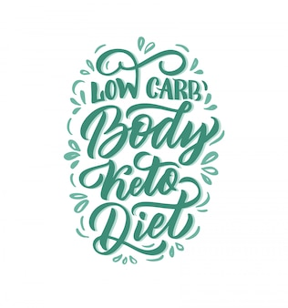 Hand drawn logo phrase for ketogenic diet: low carb body keto diet,  illustration