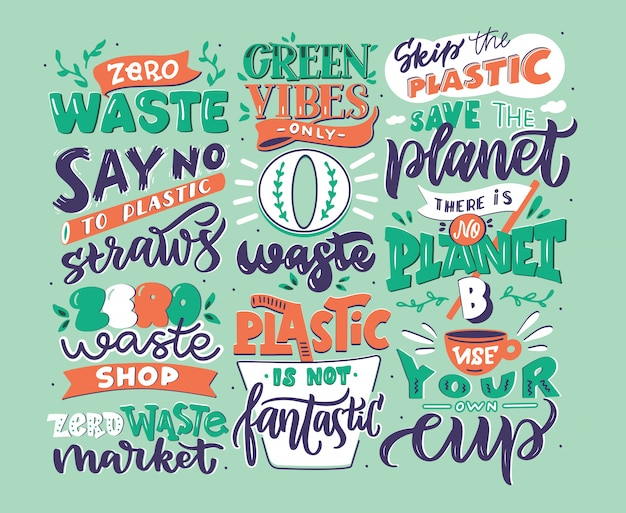 Hand drawn logo set of zero waste phrases, handwritten lettering composition isolated,  illustration collection