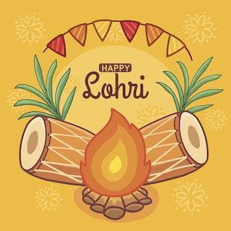 Hand drawn lohri day