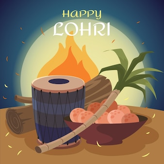 Hand drawn lohri festival