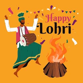 Festival di lohri disegnato a mano