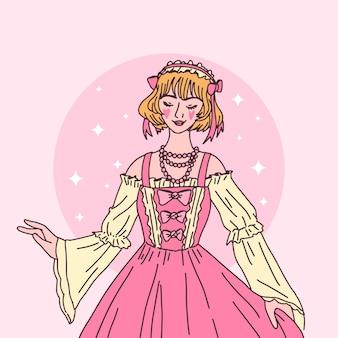 Illustrazione disegnata a mano della ragazza di stile di lolita