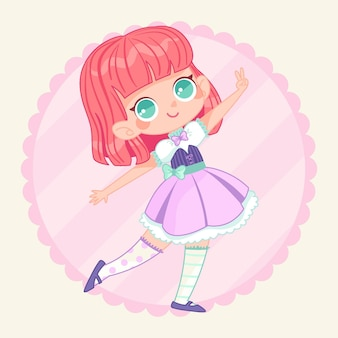 Hand drawn lolita style girl illustration