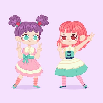Hand drawn lolita style girls