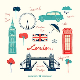 Hand drawn london elements