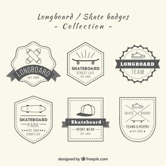 Hand drawn longboard badges in vintage style