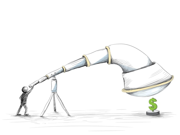 Hand drawn of looking for money with huge telescope.
