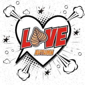Hand drawn of love autumn