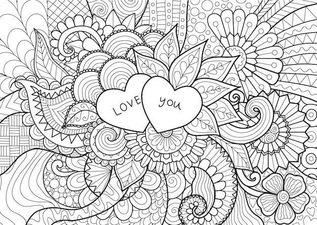 Hand drawn love background