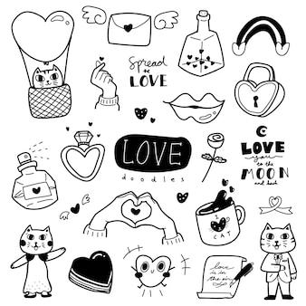 Нарисованный от руки стиль рисованной любви с милой и очаровательной иллюстрацией кошки