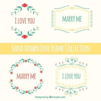 A mano collezione di montature amore disegnato