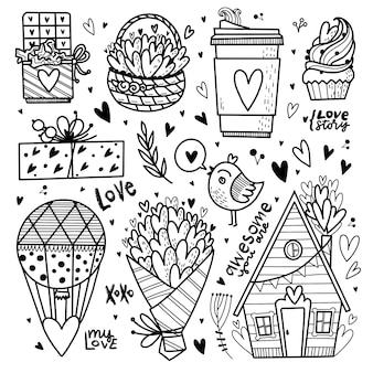 Hand drawn love objects