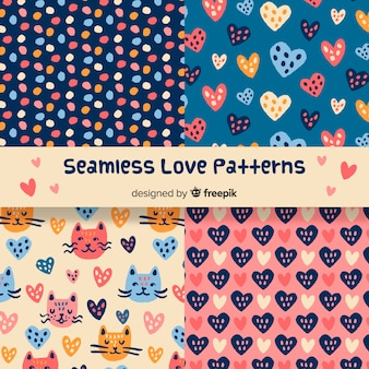 Hand drawn love patterns