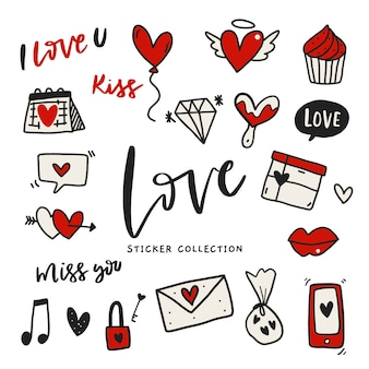 Hand drawn love sticker-label set