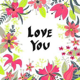Hand drawn love you typography lettering poster, card, illustration