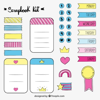 Hand drawn lovely accessories for scrapbook